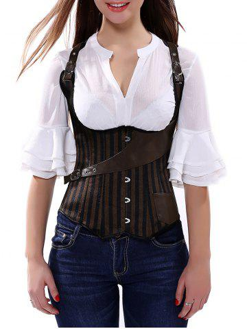Store Belted Embellished Stripe Cupless Corset Top BROWN S