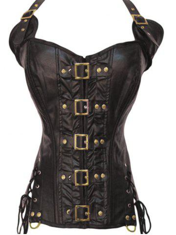 Shops Halter Lace-Up Faux Leather Steampunk Corset BROWN S