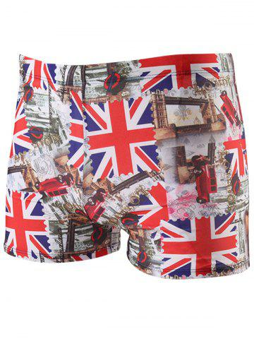 The Union Jack Pattern Lace Up Swimming Trunks - Red - 2xl