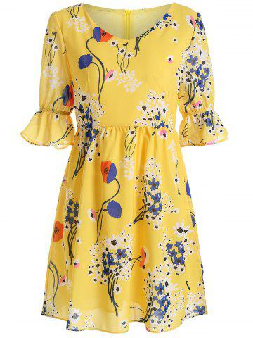 Floral Print High Waist V Neck Mini Dress - Yellow - 2xl