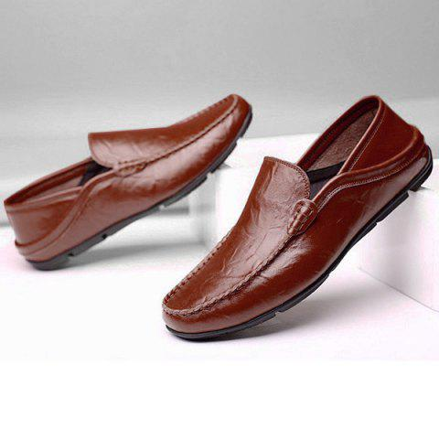 Sale Round Toe Stitching Casual Shoes - 40 BROWN Mobile