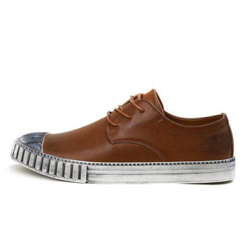 Hot Colour Block Stripes Casual Shoes - 40 BROWN Mobile