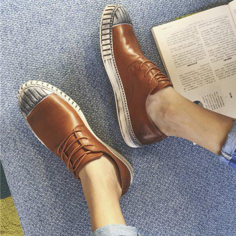 Discount Colour Block Stripes Casual Shoes - 40 BROWN Mobile