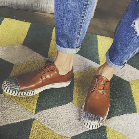 Online Colour Block Stripes Casual Shoes - 40 BROWN Mobile