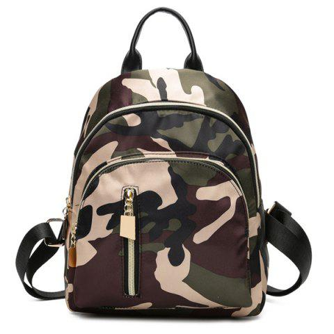 Unique Multi Zippers Nylon Backpack CAMOUFLAGE