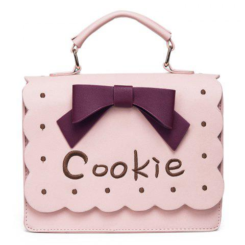 Fashion Scalloped Bowknot Cookie Handbag - PINK  Mobile