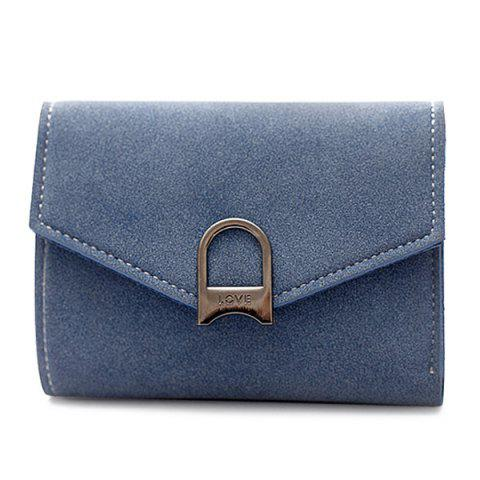Buy Suede Tri Fold Small Wallet BLUE