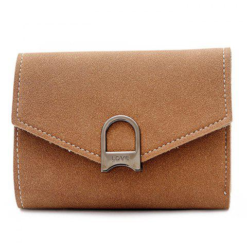 Hot Suede Tri Fold Small Wallet KHAKI