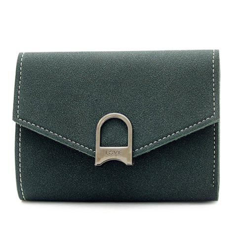 Chic Suede Tri Fold Small Wallet DEEP GREEN