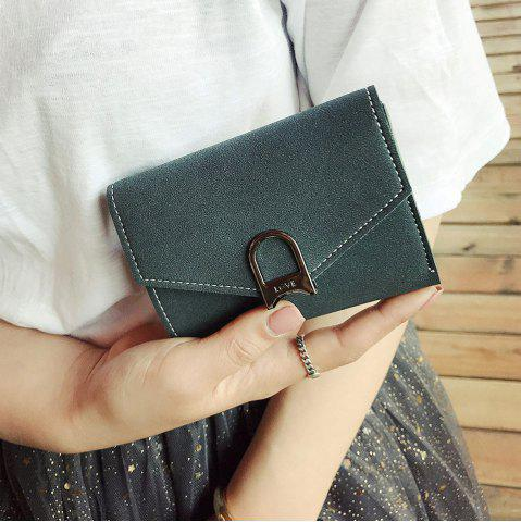 Discount Suede Tri Fold Small Wallet - DEEP GREEN  Mobile