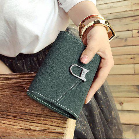 Affordable Suede Tri Fold Small Wallet - DEEP GREEN  Mobile