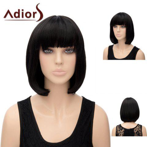 Online Adiors Silky Straight Short Bob Synthetic Hair - BLACK  Mobile