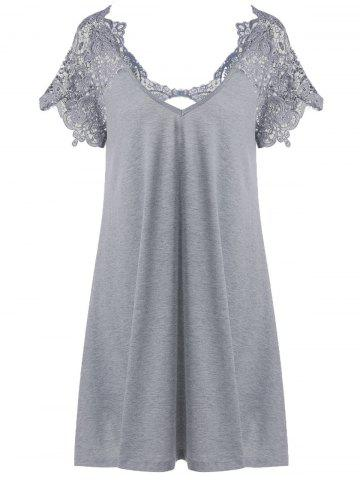 Hot Lace Trim Cutwork T-Shirt Mini Dress GRAY 2XL