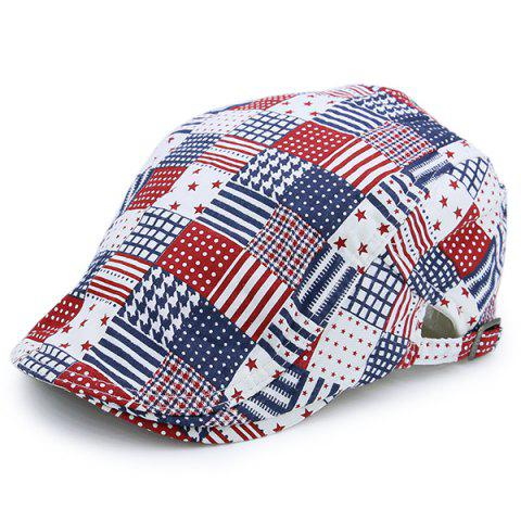 US Element Plaid Stars Stripe Newsboy Hat - Checked