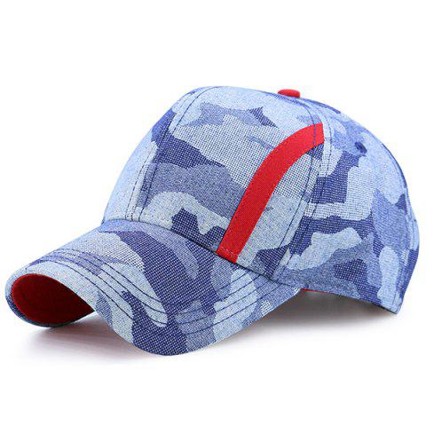 Sale Camouflage Single Stripe Splicing Baseball Cap - BLUE CAMOUFLAGE  Mobile