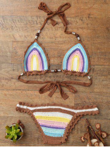 New Trendy Halter  Knitted Colored Women's Bikini Set COLORMIX ONE SIZE(FIT SIZE XS TO M)