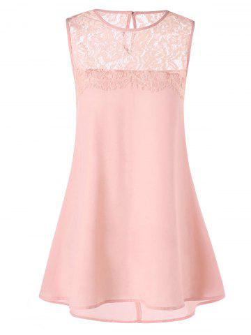 Store Lace Trim Longline Sleeveless Blouse - XL SHALLOW PINK Mobile