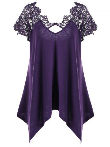 Online Plus Size Asymmetric Lace Panel T-Shirt DEEP PURPLE 2XL
