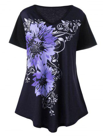 Affordable Plus Size V Neck Floral Graphic T-Shirt PURPLE 5XL