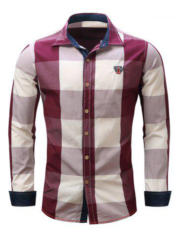 Chic Turn-Down Collar Plaid Pattern Long Sleeve Shirt For Men RED 2XL
