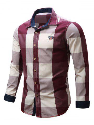 Outfits Turn-Down Collar Plaid Pattern Long Sleeve Shirt For Men - XL RED Mobile