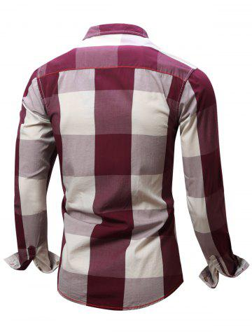 Fancy Turn-Down Collar Plaid Pattern Long Sleeve Shirt For Men - XL RED Mobile