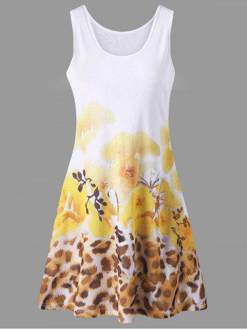 Floral with Leopard Tank Dress - Yellow - L