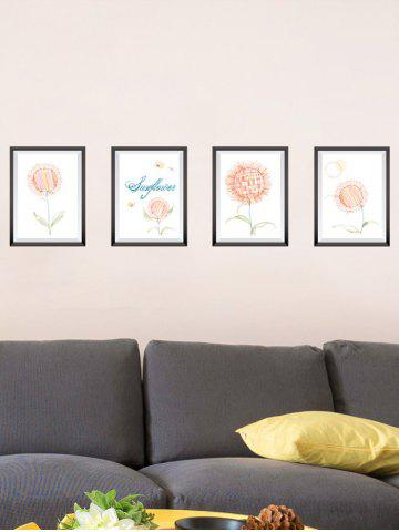4Pcs Flower Photo Frame Removable Wall Stickers - Orangepink - 50*70cm