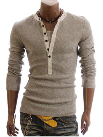 Store Men's Cotton T-Shirt With Korean Style Faux Twinset Solid Color Long Sleeves Design
