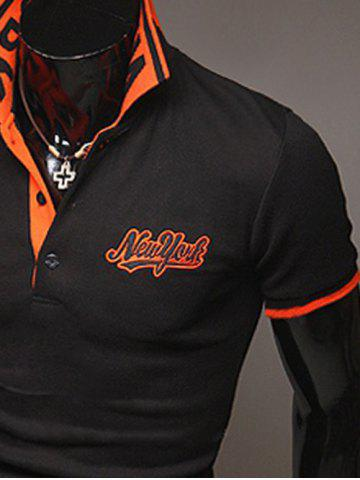 Trendy Fashion Style Polo Collar Embroidery Letters Embellished Short Sleeves Polyester Polo Shirt For Men - L BLACK Mobile