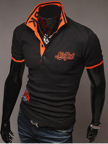 Unique Fashion Style Polo Collar Embroidery Letters Embellished Short Sleeves Polyester Polo Shirt For Men BLACK 2XL