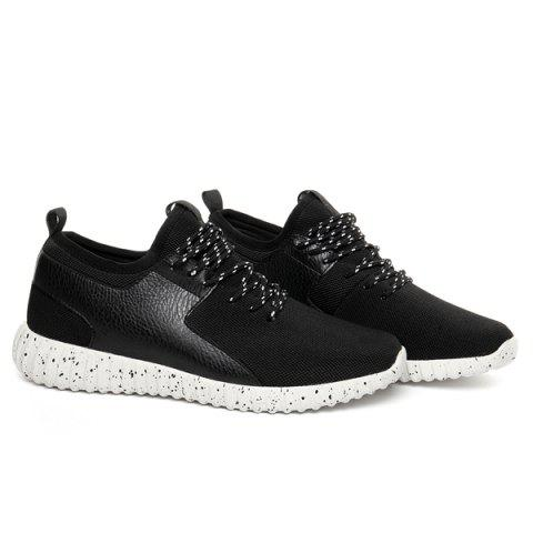 Shops Breathable Mesh Tie Up Casual Shoes - 40 WHITE AND BLACK Mobile