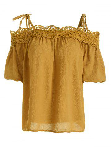 Spaghetti Strap Crochet Lace Chiffon Top - Ginger - One Size(fit Size Xs To M)
