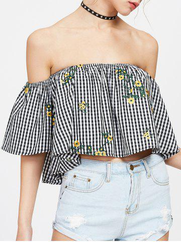 Store Off The Shoulder Embroidered Plaid Blouse BLACK WHITE M