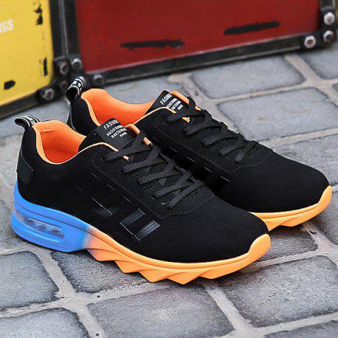 Outfits Air Cushion Faux Suede Athletic Shoes - 40 BLACK AND ORANGE Mobile