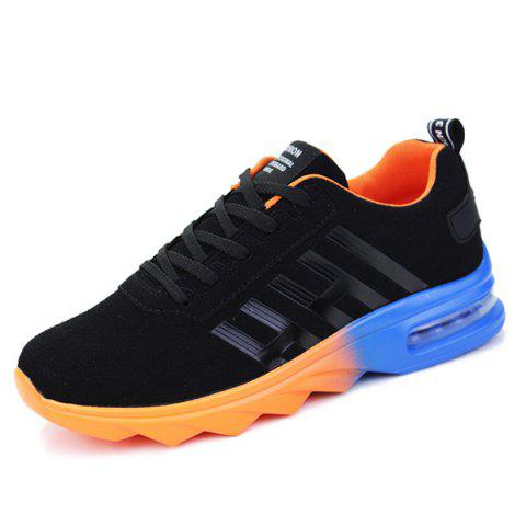 Fashion Air Cushion Faux Suede Athletic Shoes - 40 BLACK AND ORANGE Mobile