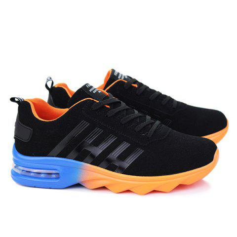 Cheap Air Cushion Faux Suede Athletic Shoes - 40 BLACK AND ORANGE Mobile