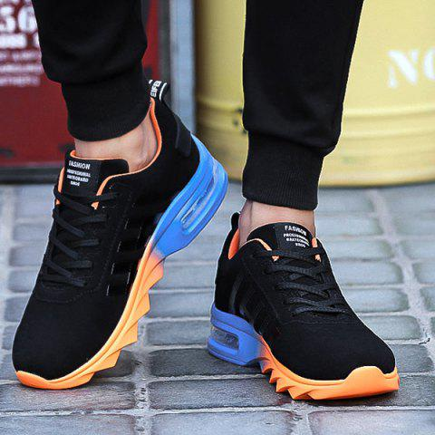 Chic Air Cushion Faux Suede Athletic Shoes - 40 BLACK AND ORANGE Mobile