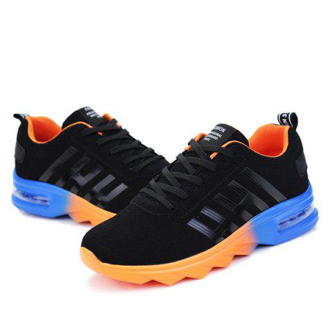 Fancy Air Cushion Faux Suede Athletic Shoes - 40 BLACK AND ORANGE Mobile