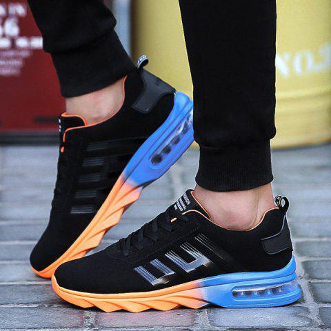 Sale Air Cushion Faux Suede Athletic Shoes - 40 BLACK AND ORANGE Mobile