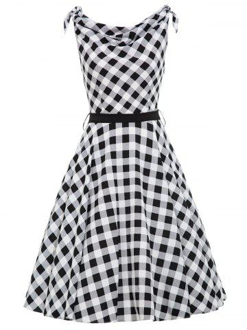 Vintage Cowl Neck Checked Belted Dress - Black White - 2xl