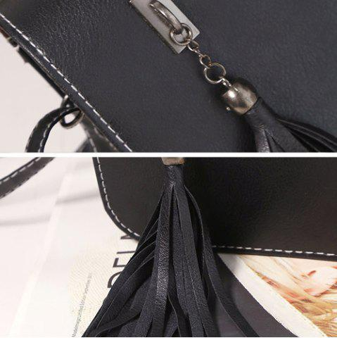 Chic Flap Twin Tassel Crossbody Bag - BLACK  Mobile