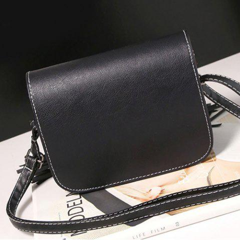 Best Flap Twin Tassel Crossbody Bag - BLACK  Mobile