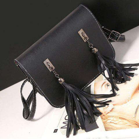 Fancy Flap Twin Tassel Crossbody Bag - BLACK  Mobile