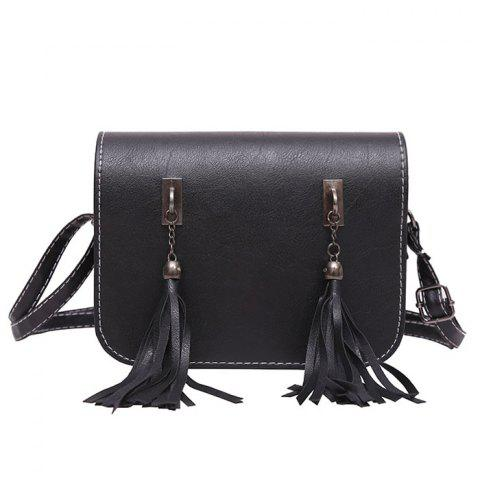 Flap Twin Tassel Crossbody Bag - Black