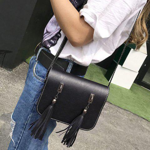 Latest Flap Twin Tassel Crossbody Bag - BLACK  Mobile