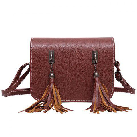 Latest Flap Twin Tassel Crossbody Bag BROWN