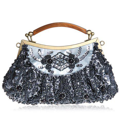 Shops Metal Trim Beaded Evening Bag - BLUE  Mobile