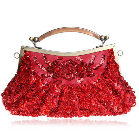 Discount Metal Trim Beaded Evening Bag - WINE RED  Mobile