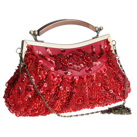 Fashion Metal Trim Beaded Evening Bag - WINE RED  Mobile